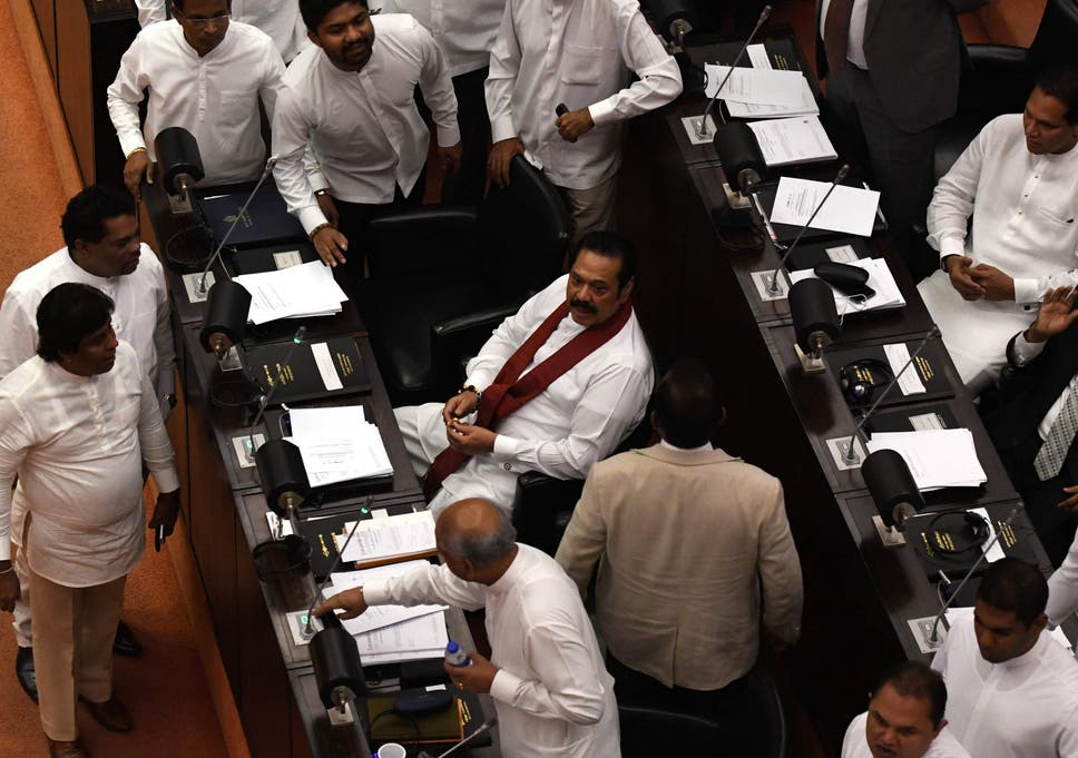 Image result for Discussing a new non-confidence motion against the new government led by Mahinda Rajapaksa in the Parliament of Sri Lanka