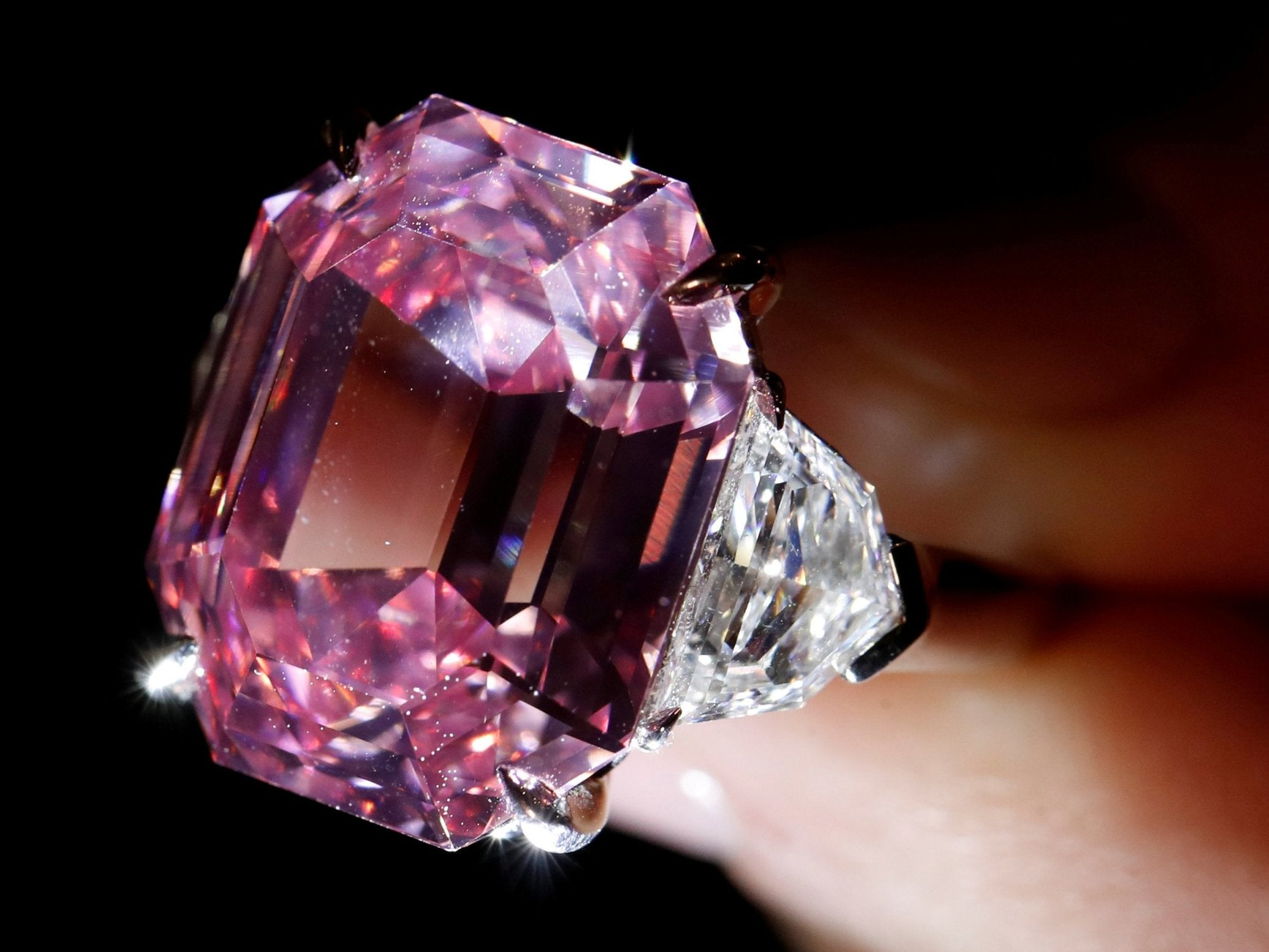 Rare pink diamond sells for world-record $50m at Christie's auction