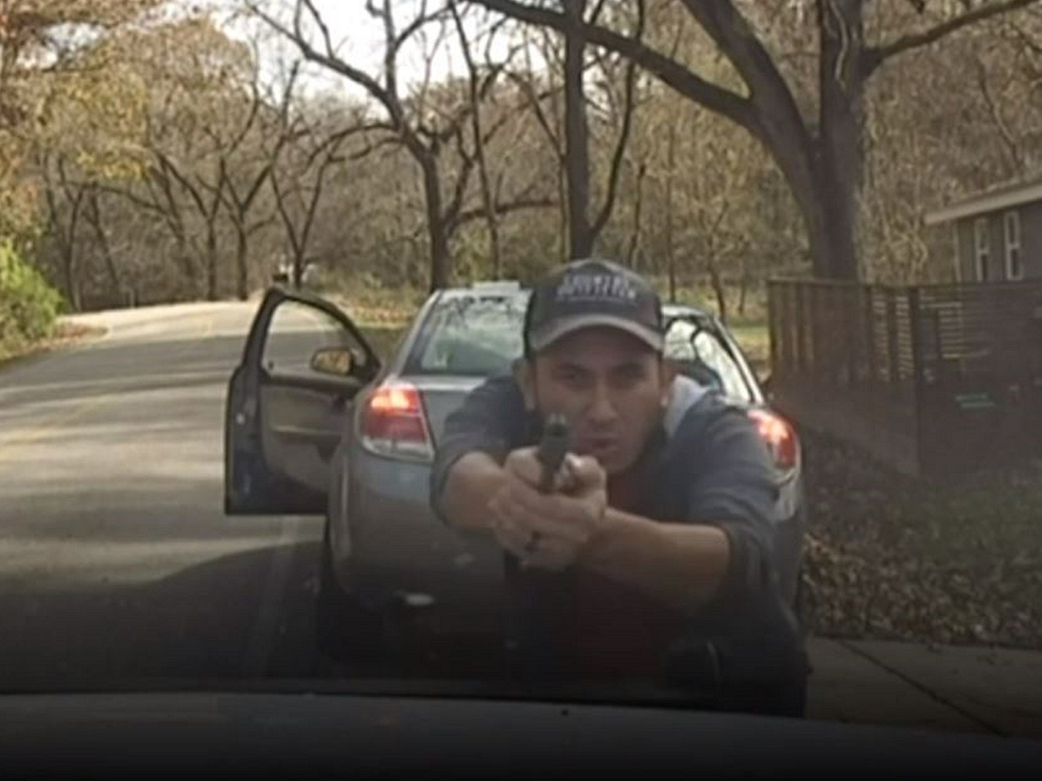 Dashcam captures moment armed driver opened fire on police officer who pulled him over