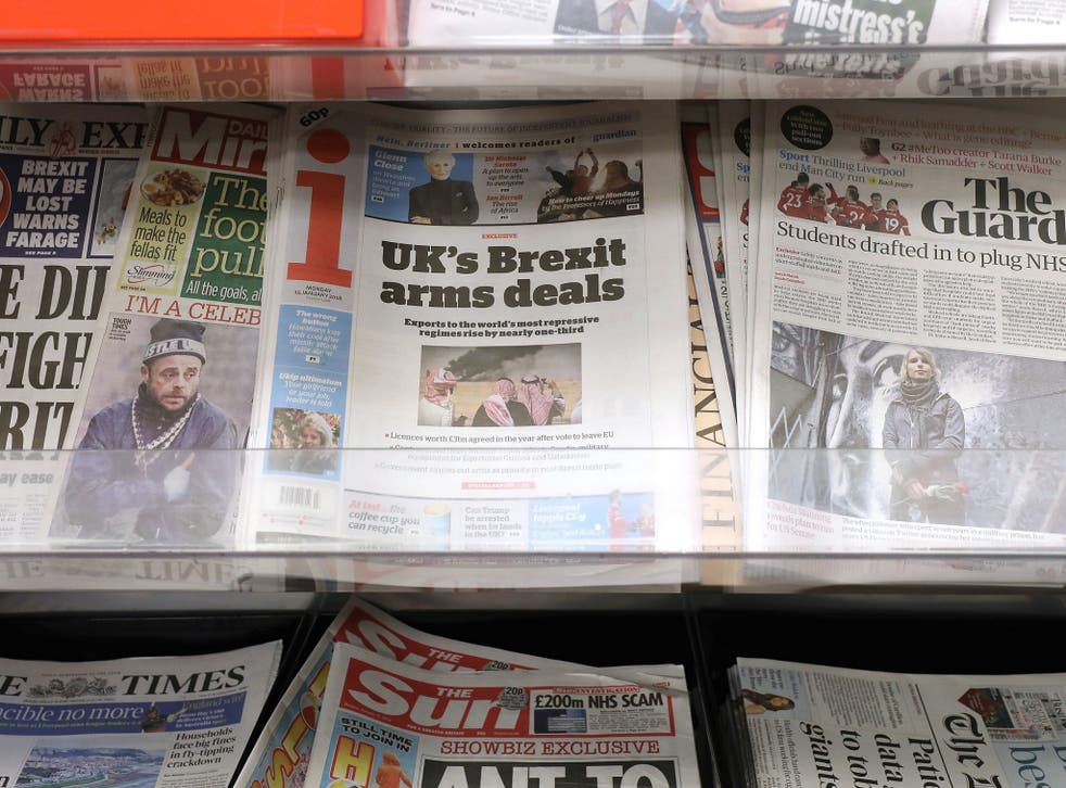 The i newspaper on sale at a shop in London. The future of newspapers previously owned by Johnston Press have been secured after they were acquired by a newly formed company called JPIMedia.