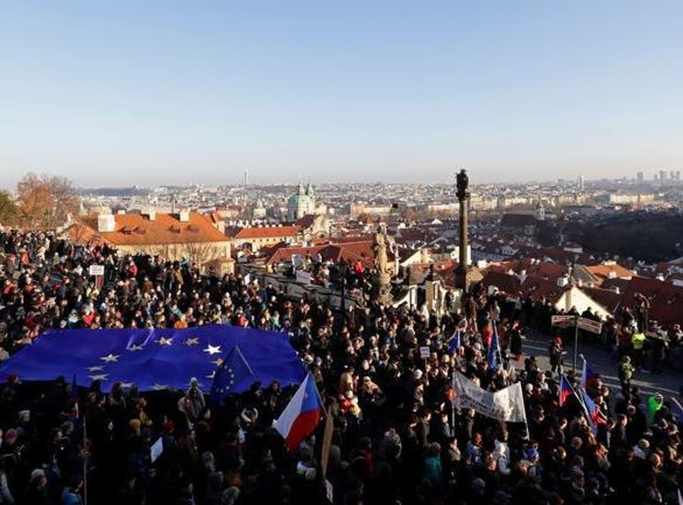 Demonstrators march while demanding resignation of Czech Prime Minister Andrej Babis in Prague,