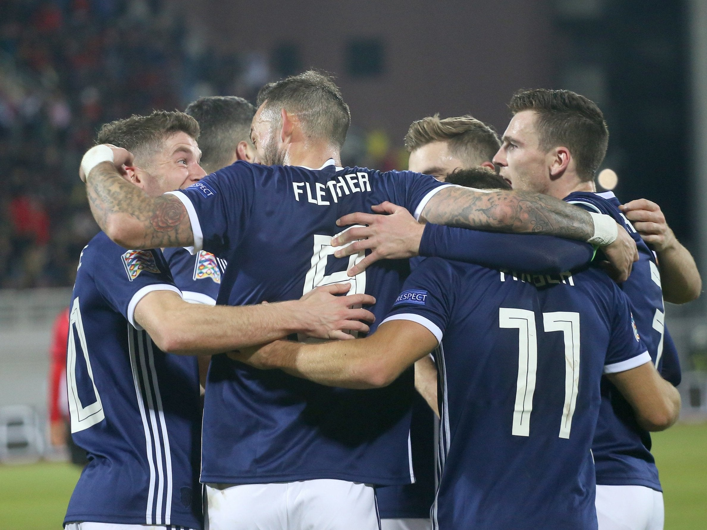 Scotland thump ten-man Albania to keep Nations League hopes alive