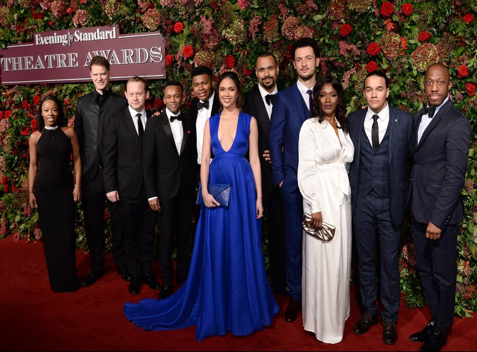 The cast of Hamilton attend the Evening Standard Theatre Awards 2018 at the Theatre Royal in London.