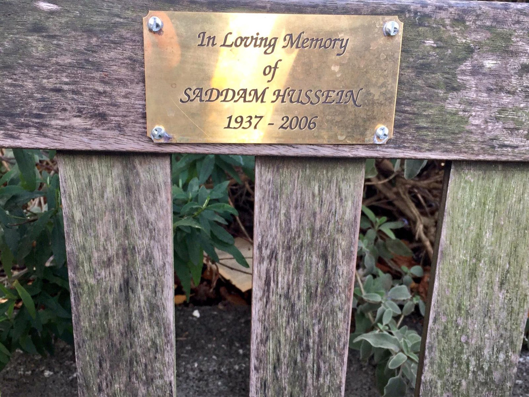 Saddam Hussein memorial plaque appears on bench in London town of Wanstead