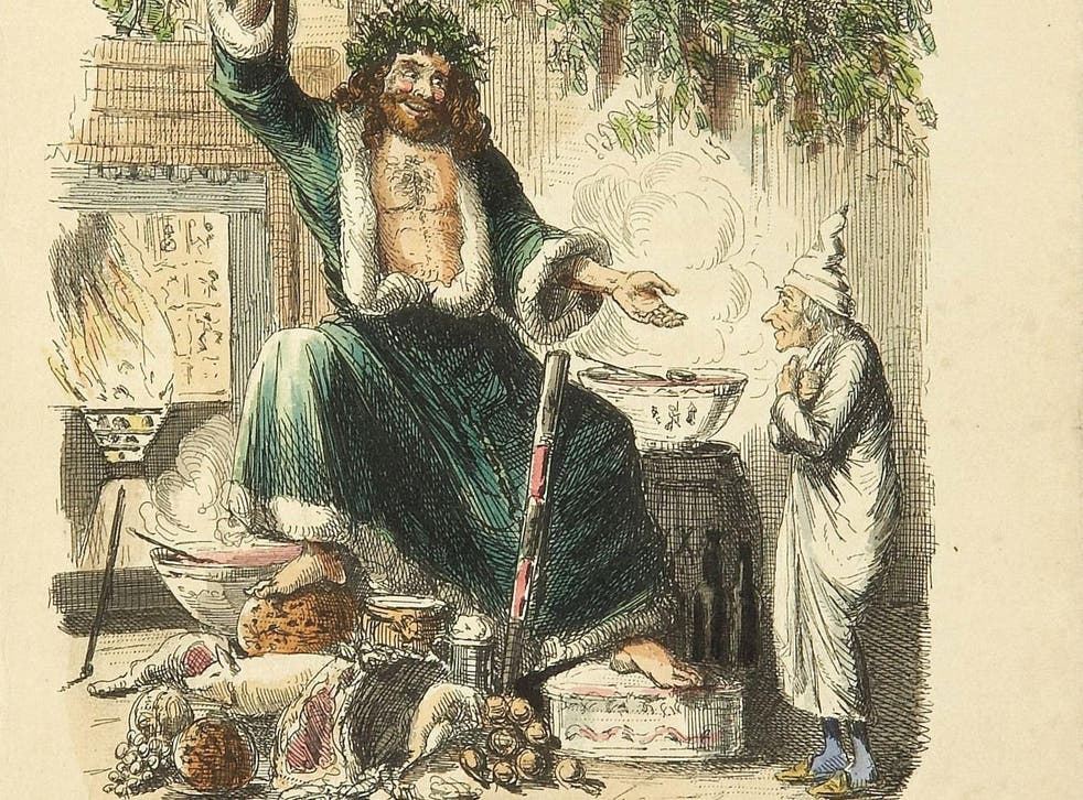 John Leech's illustration of Scrooge being visited by the Ghost of Christmas Present – from the original 1843 edition