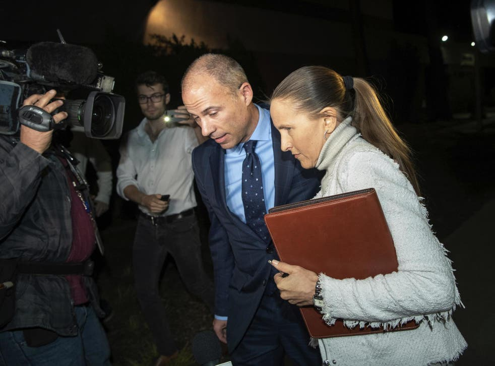 Michael Avenatti leaves the Los Angeles Police Department Pacific Division after posting bail for a felony domestic violence charge on Wednesday 14 November 2018