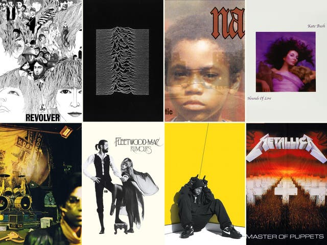Left to right, from top row: Revolver (The Beatles), Unknown Pleasures (Joy Division), Illmatic (Nas), Hounds of Love (Kate Bush), Sign o' the Times (Prince), Rumours (Fleetwood Mac), Boy in da Corner (Dizzee Rascal), Master of Puppets (Metallica)