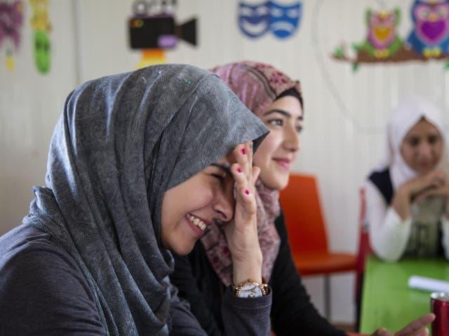 Syrian refugees in Zaatri camp in Jordan who were twinned with London schoolgirls