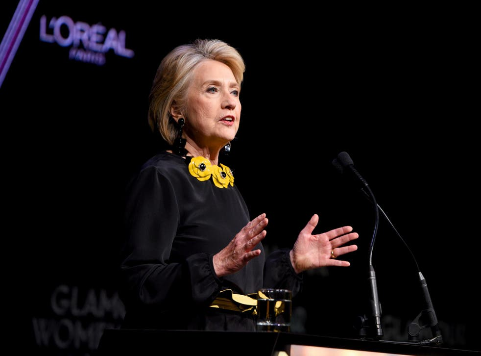 Hillary Clinton delivers her keynote speech at the Bonavero Institue of Human Rights, at Oxford University's Mansfield College
