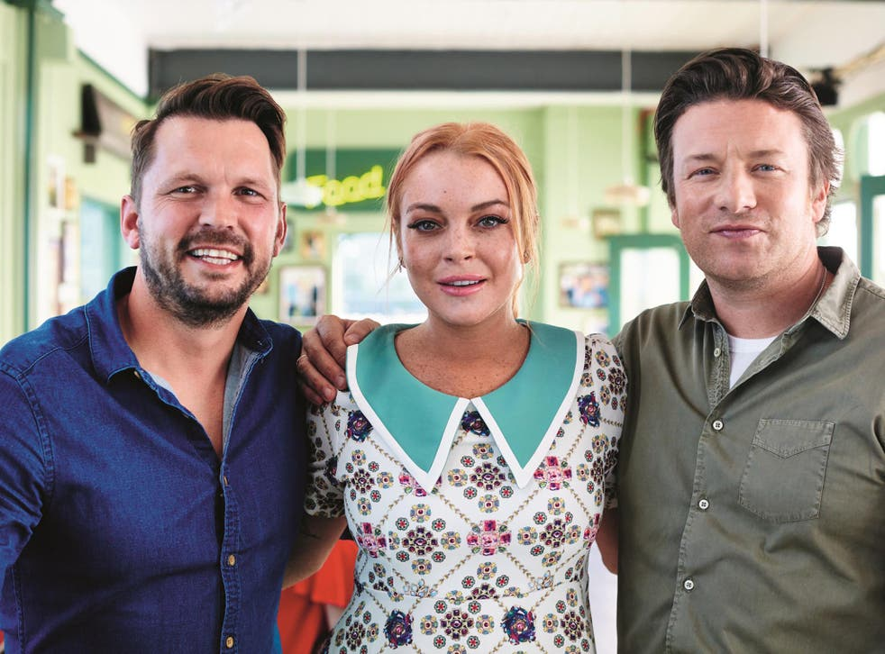 Jimmy Doherty, Lindsay Lohan and Jamie Oliver on 'Jamie and Jimmy's Friday Night Feast'