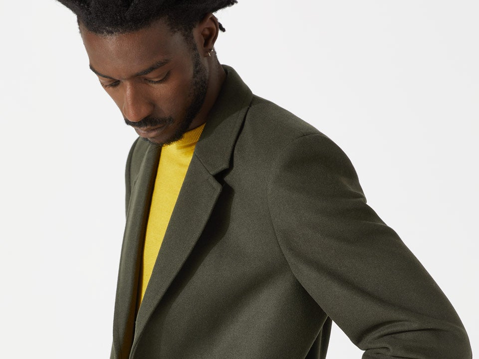 French Connection Mens Workwear Washed Wool Check Jacket