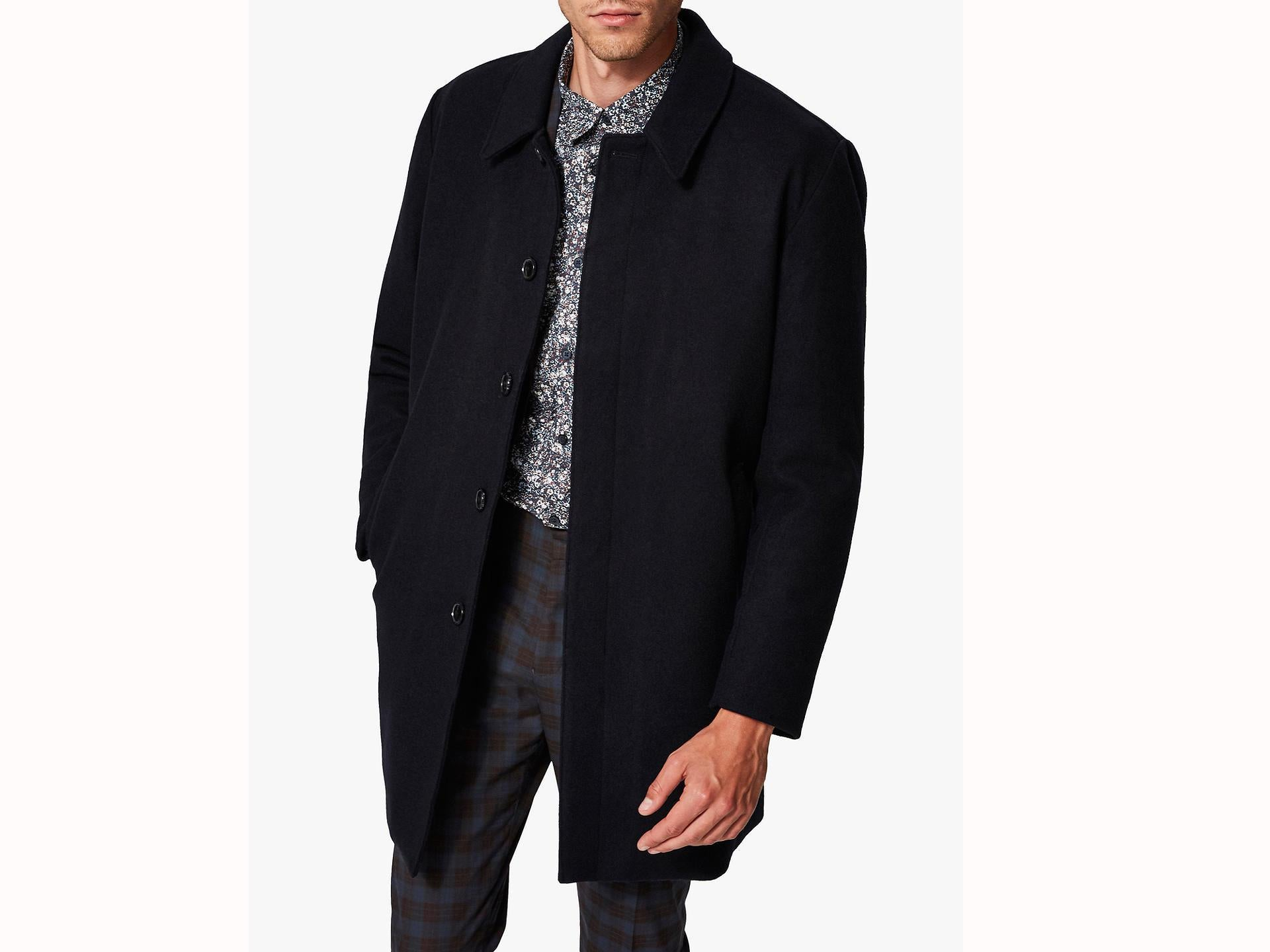 ROBO Winter Warm Quilted Trench Coat Long Wool Blend Pea Coat Jacket for Mens