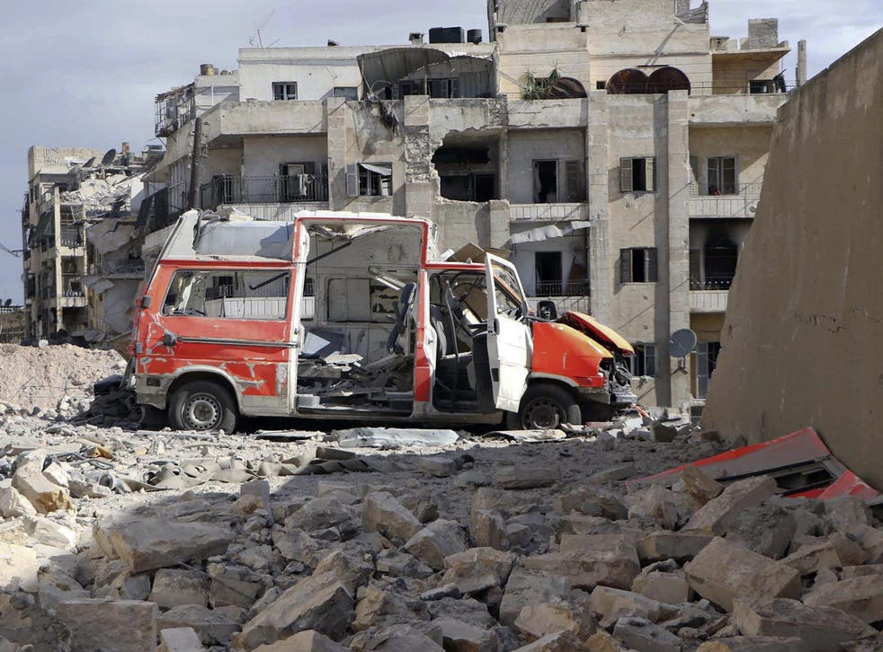 A destroyed medical van outside the Civil Defence main centre in Aleppo, Syria, 2016