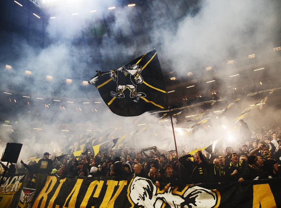 AIK fans at the Friends Arena for the visit of Goteborg