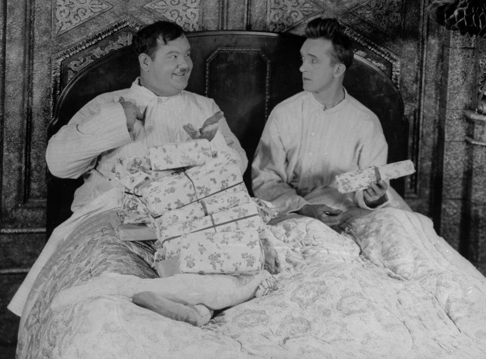 <p>Comedy duo Laurel and Hardy were were known for slapstick comedy short films from the 1920s to 1940s</p>