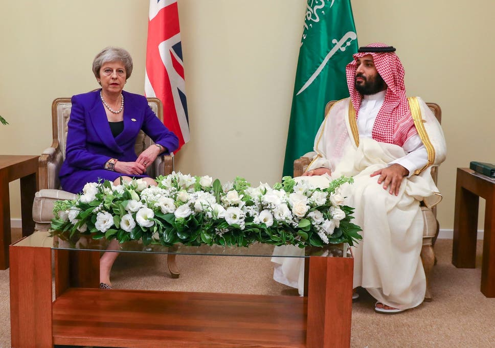 Theresa May with Mohammed bin Salman at the G20 summit in Buenos Aires in November