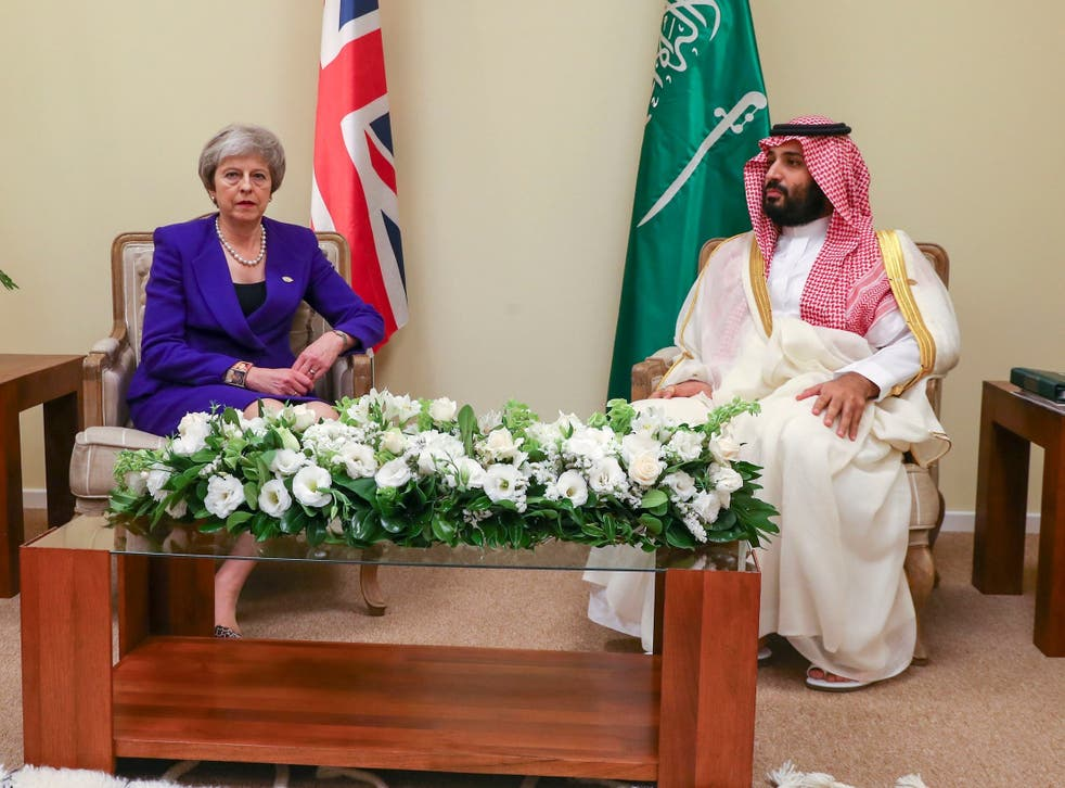 Theresa May with Crown Prince Mohammed bin Salman at the G20 summit in Buenos Aires in November