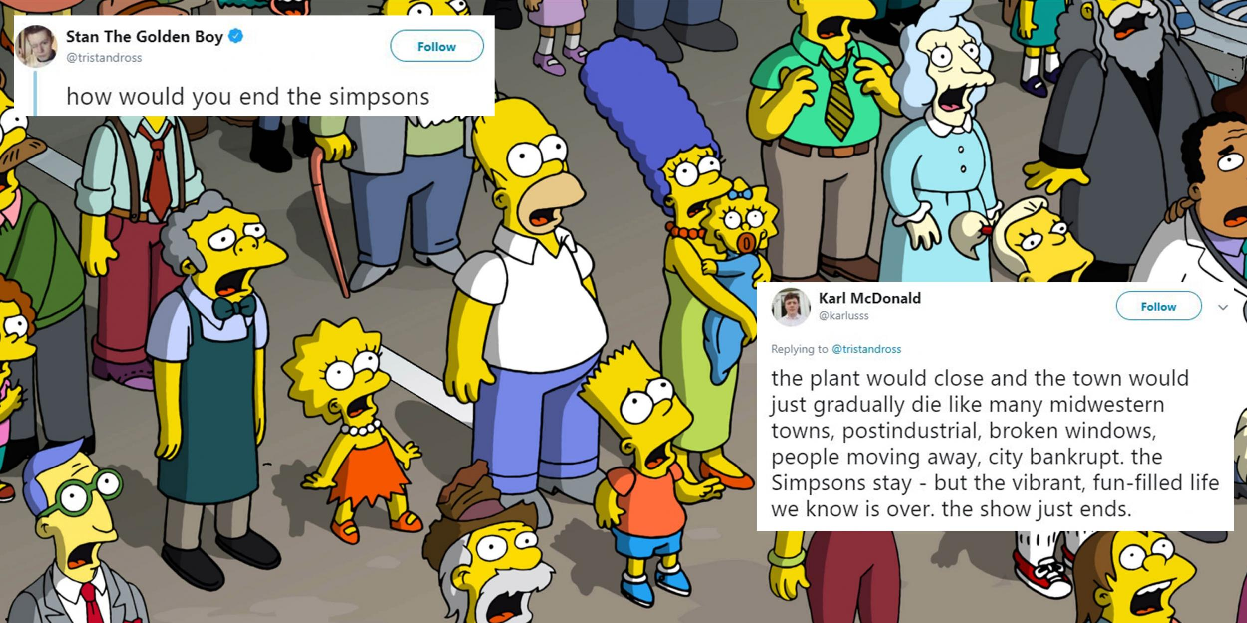 This Twitter thread on how The Simpsons should end has provided some creative suggestions