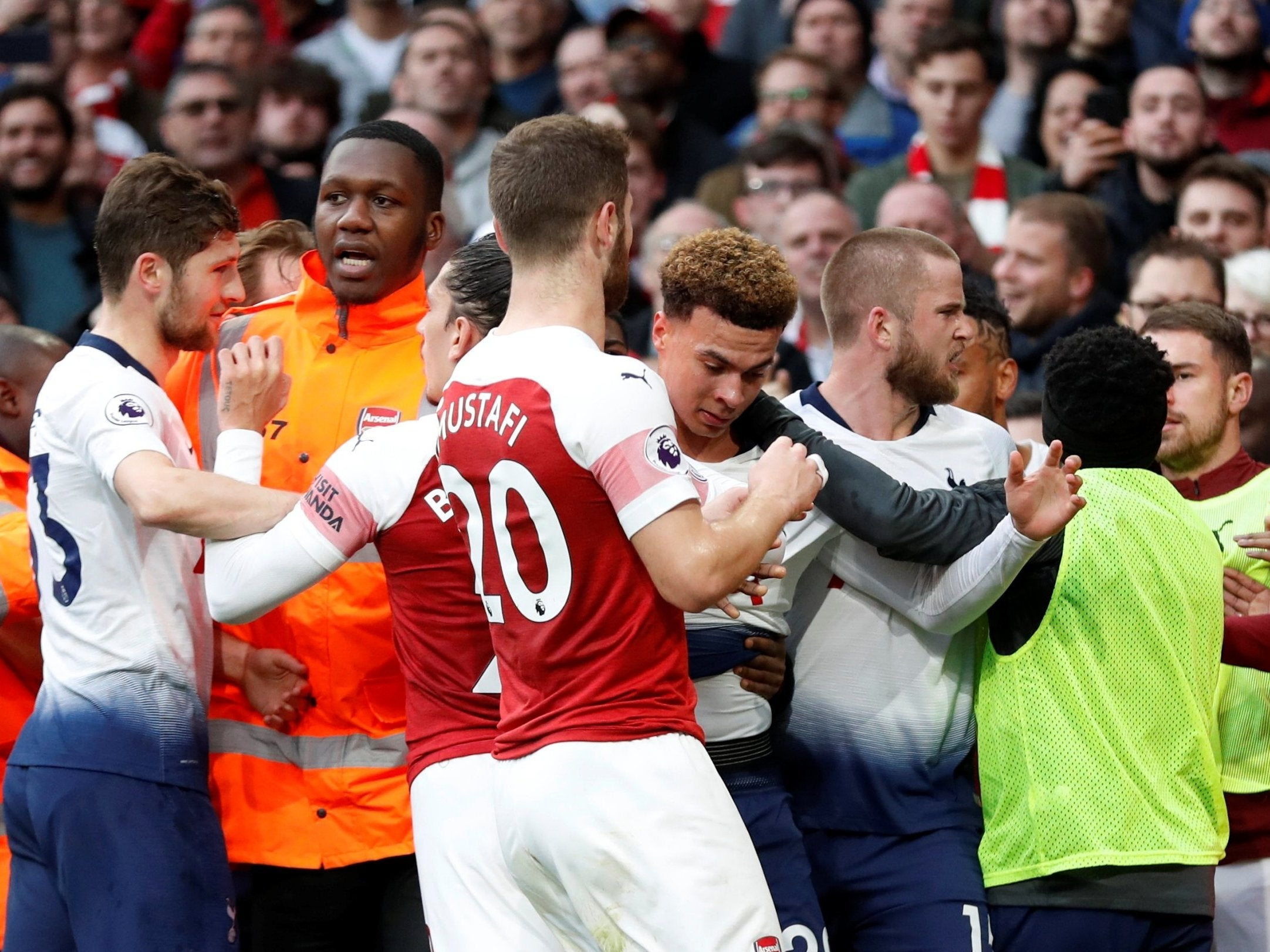 Image result for arsenal 4 spurs 2 eric dier scuffle