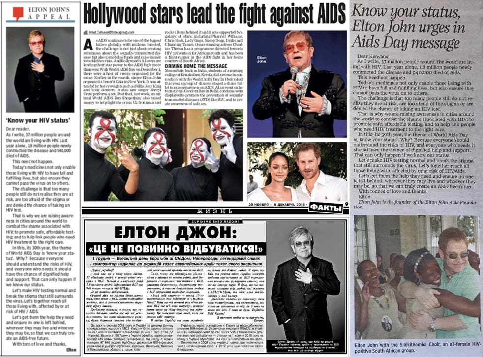 Newspapers around the world have featured our Christmas charity appeal with the Elton John Aids Foundation