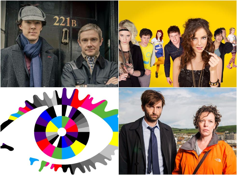 Clockwise from top left: Sherlock, Skins, Broadchurch and Big Brother
