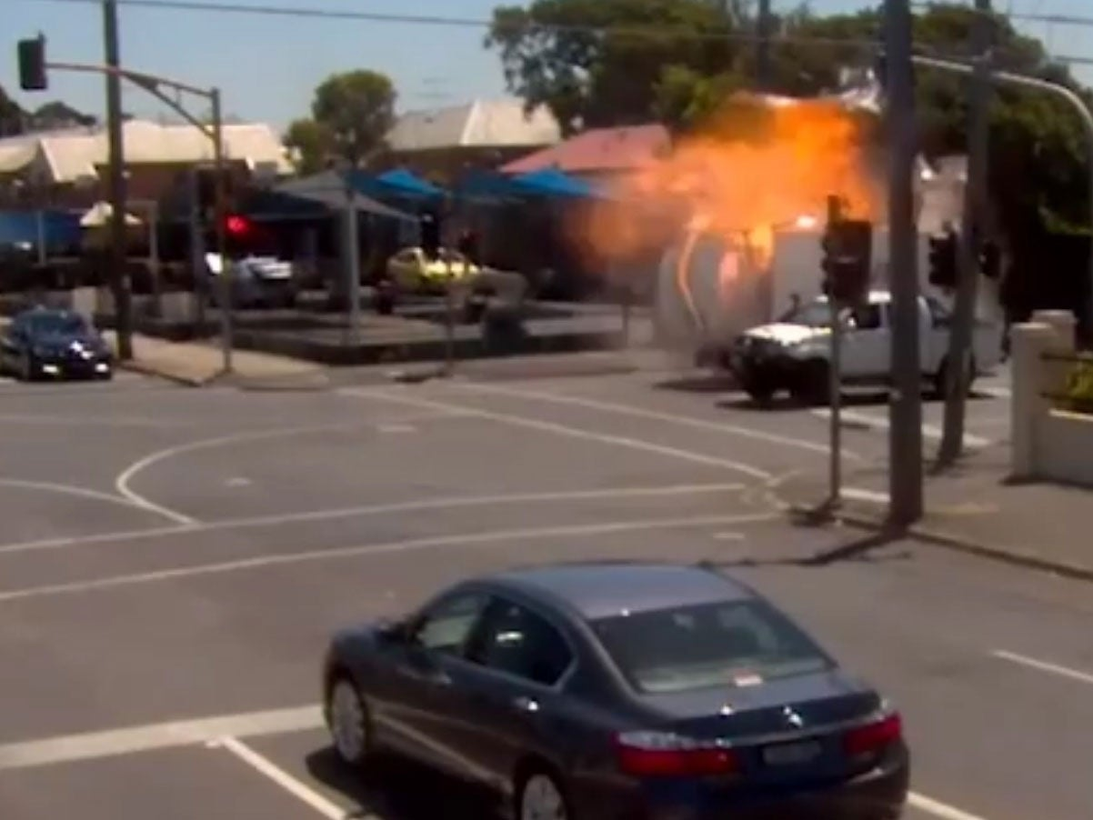 Traffic cameras capture moment truck explodes at Melbourne
