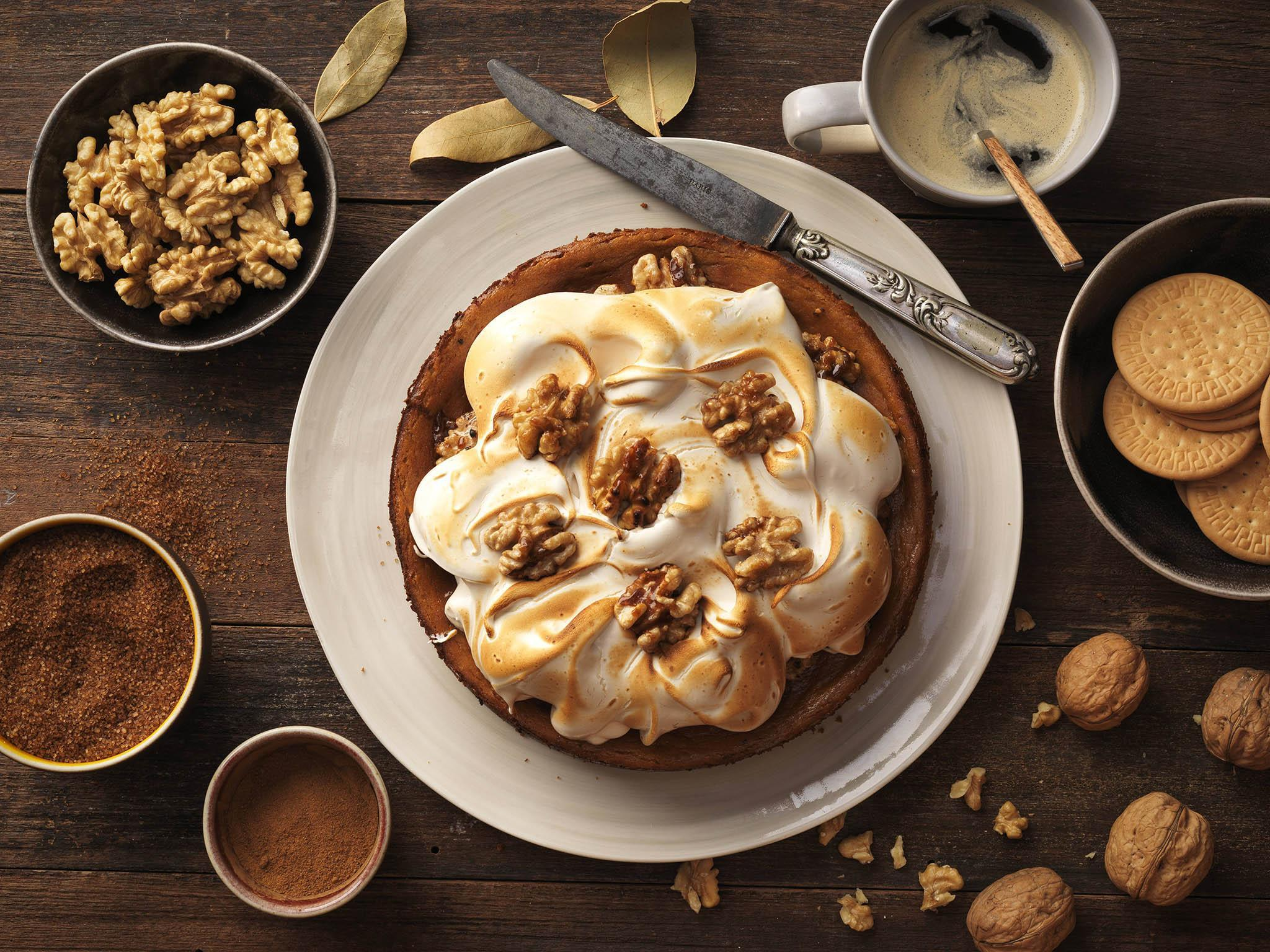 Recipe: How to make sweet potato cheesecake with meringue and caramelised walnuts 1