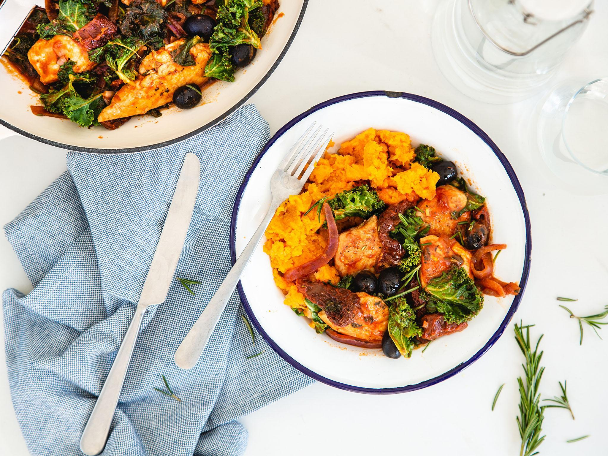 How to make chicken cacciatore with sweet potato 1