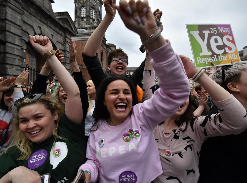 Yes voters in Dublin celebrate the result of the vote in May