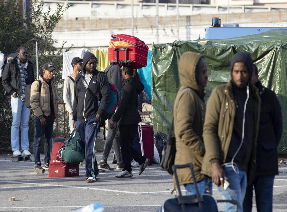 Migrants living rough in Rome