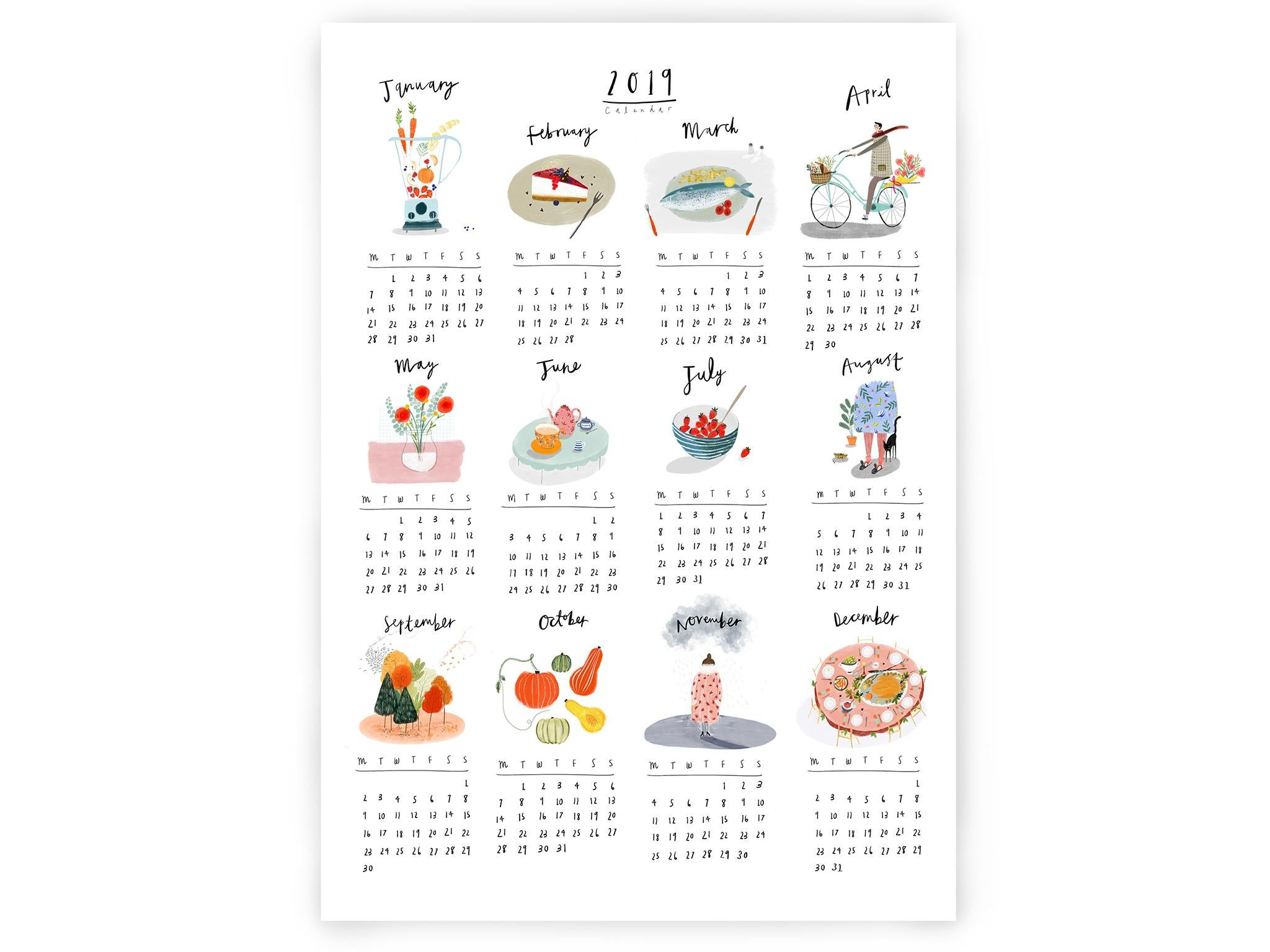 2019 Quirky Calendar Print by Katy Pillinger: from £14, Etsy