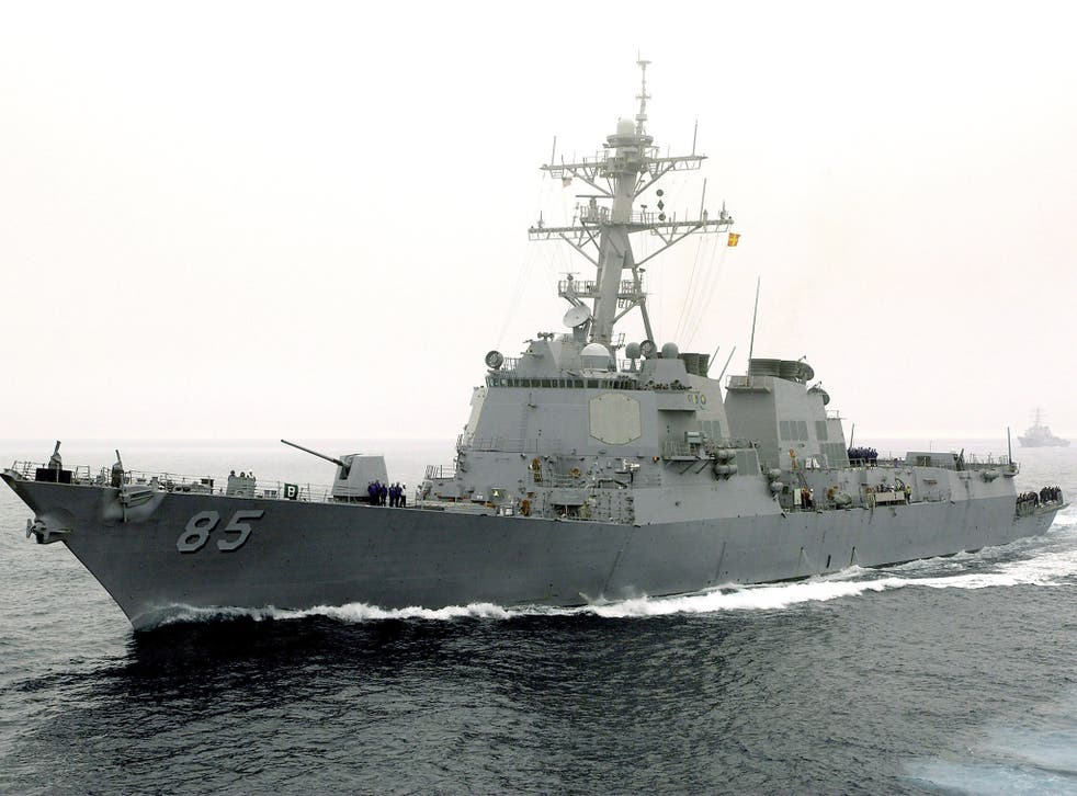 The guided-missile destroyer USS McCampbell sails in the Pacific Ocean