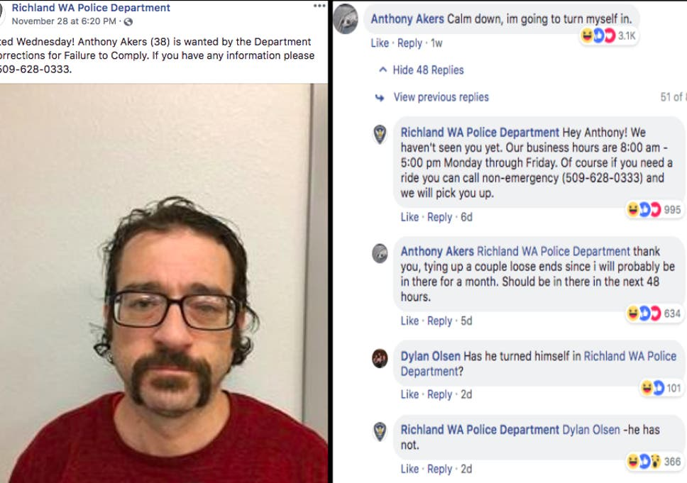 51d76aad38 Exchange between Richland Police Department and Anthony Akers on Facebook