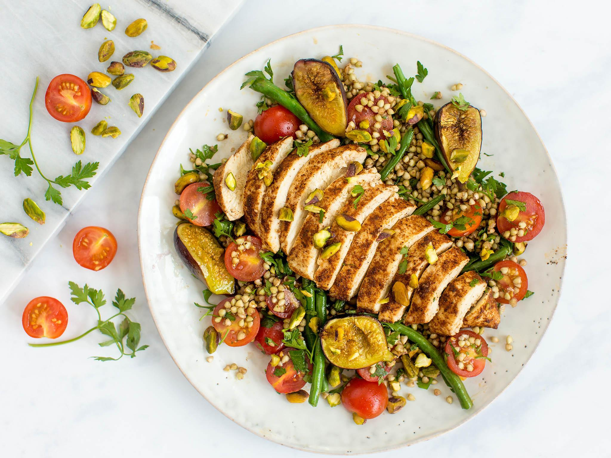 How to make baharat chicken, figs and pistachio buckwheat 1