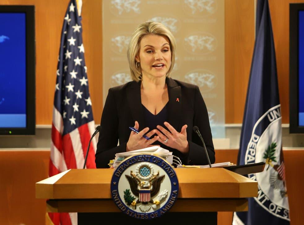 State Department spokesperson Heather Nauert speaks in the press briefing room