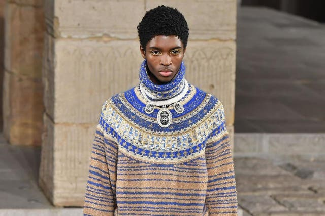 Alton Mason walks the runway during the Chanel Metiers d'Art 2018/19 show at the Metropolitan Museum of Art on 4 December 2018
