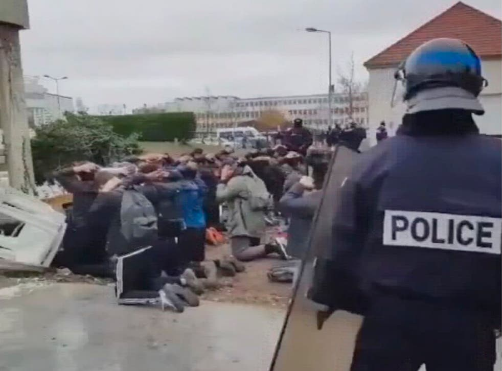 A demonstration by students outside a school in the western Paris suburb of Mantes-la-Jolie ended in clashes with the police and more than 140 arrests