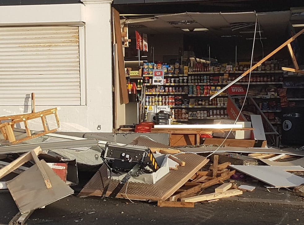 A view of the McColl's shop on Cleveland Terrace, Newbiggin-by-the-Sea, Northumberland, following a ram raid on 8 December, 2018. in which a cash machine was taken.