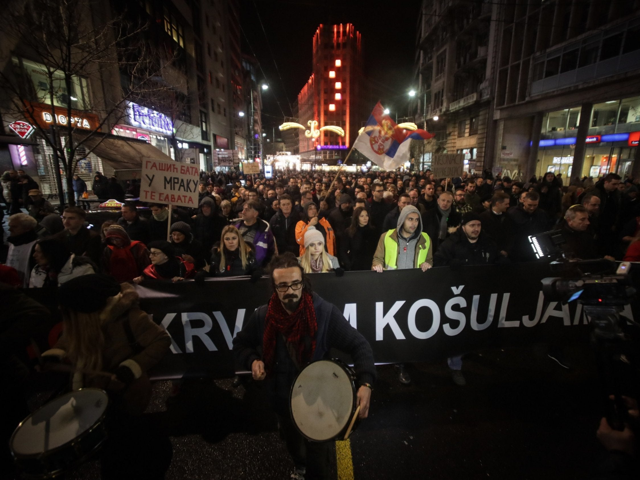 Thousands protest in Serbia against attack on opposition politician