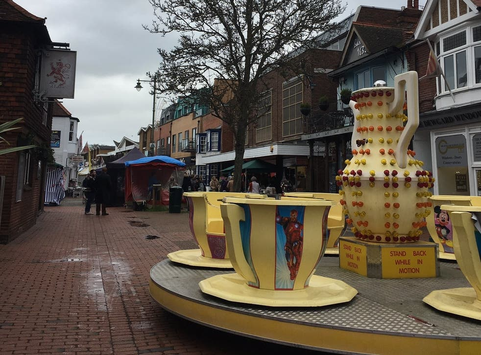 The girl was visiting the fair in Egham town centre with her family