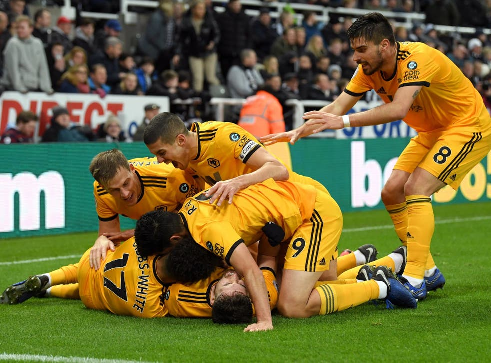 Wolves celebrate their late winning goal