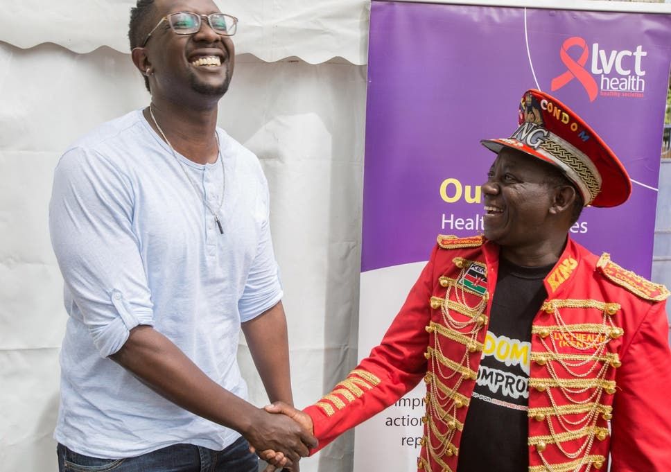 Kenyan pop star Tetu Shani, left, with 'King of Condoms', Stanley Ngara