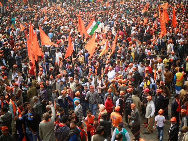 Hindu nationalists gather in Delhi to call for the creation of a grand temple at a disputed site in Ayodhya, northern India
