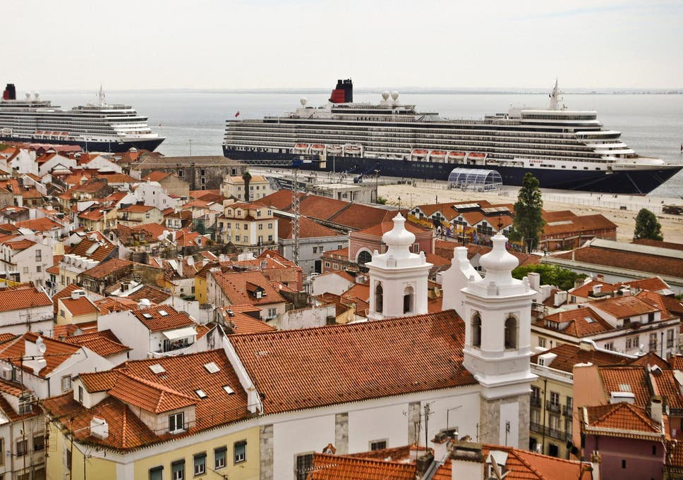 Cruise ships lie at anchor at the terminal in Lisbon in Portugal