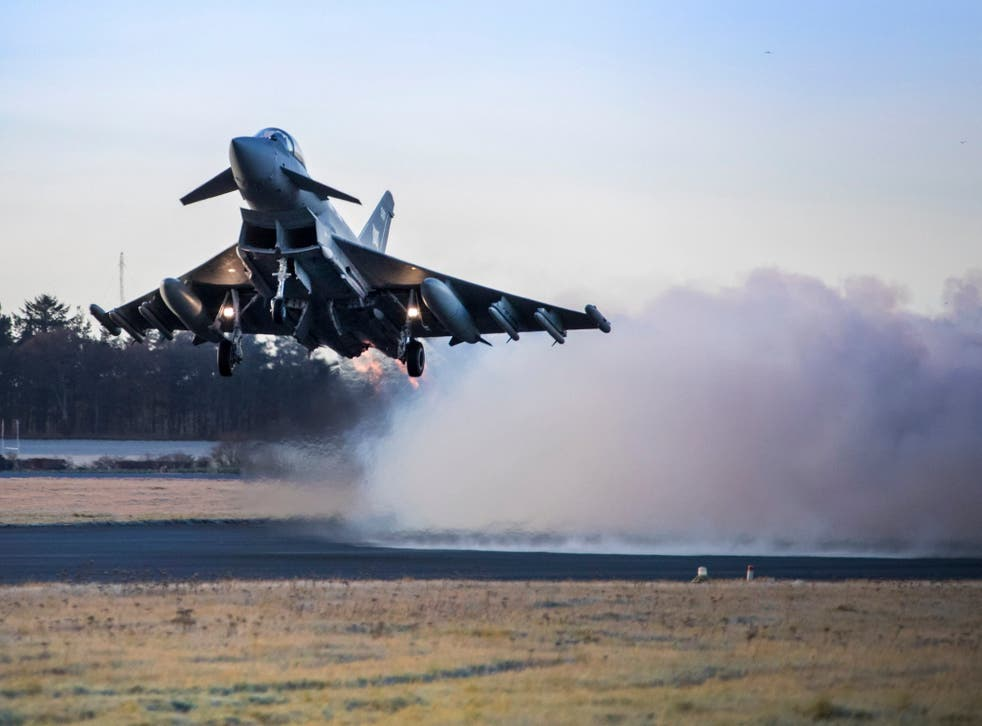 A Typhoon fighter jet takes off from RAF Lossiemouth