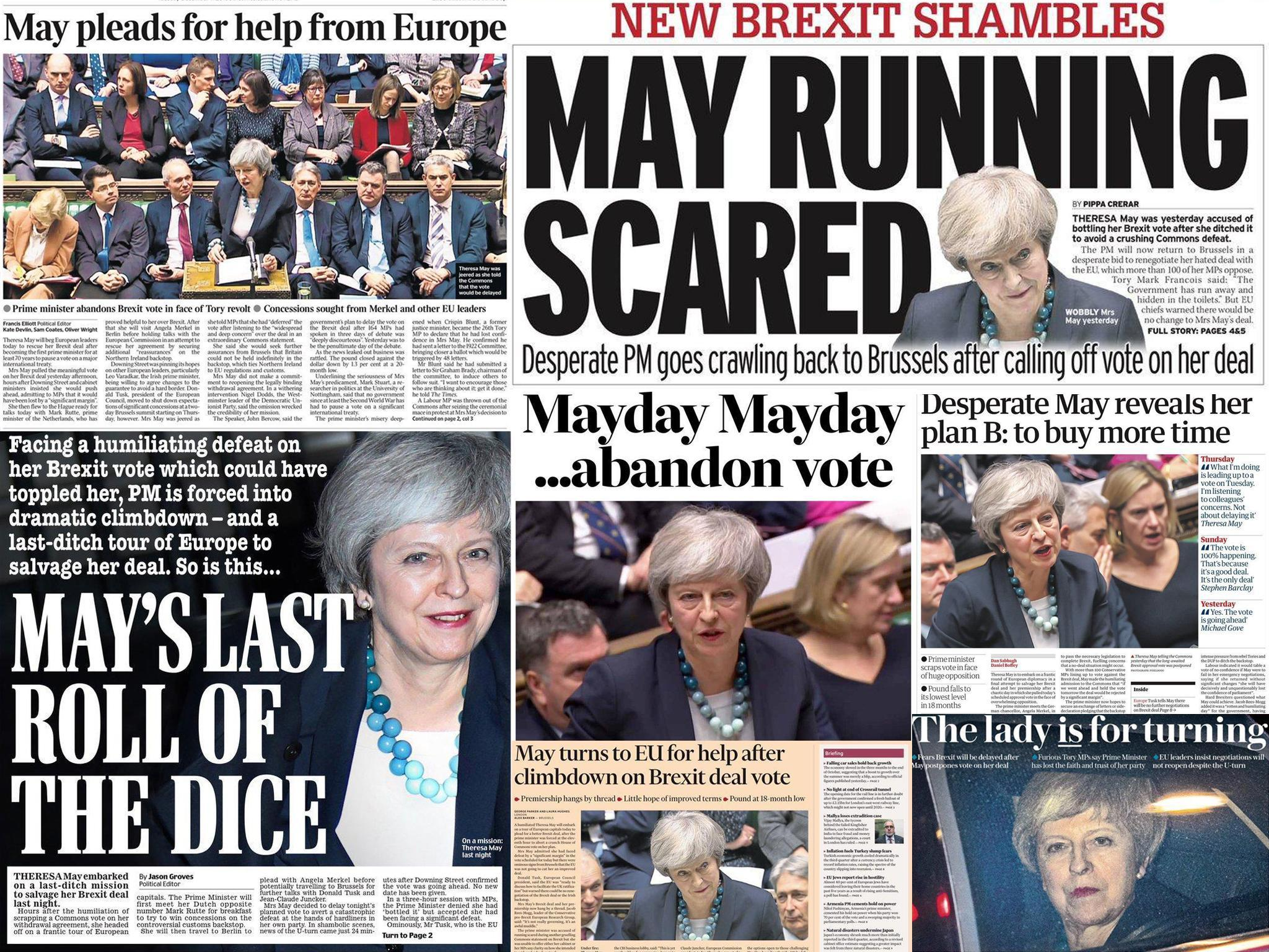 'Hanging by a thread': How the papers covered Theresa May's day of Brexit humiliation