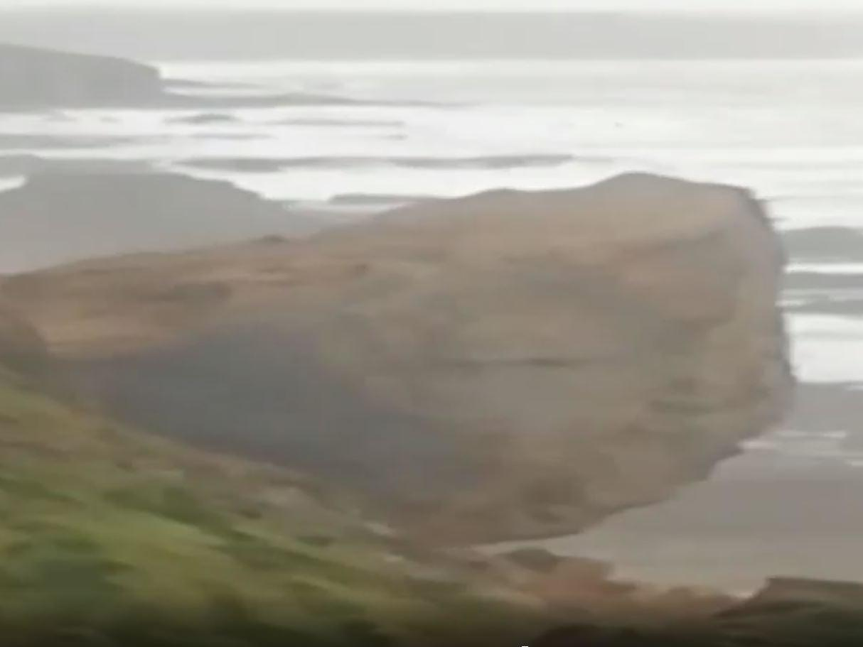 Huge cliff collapse in Cornwall captured by woman walking her dog