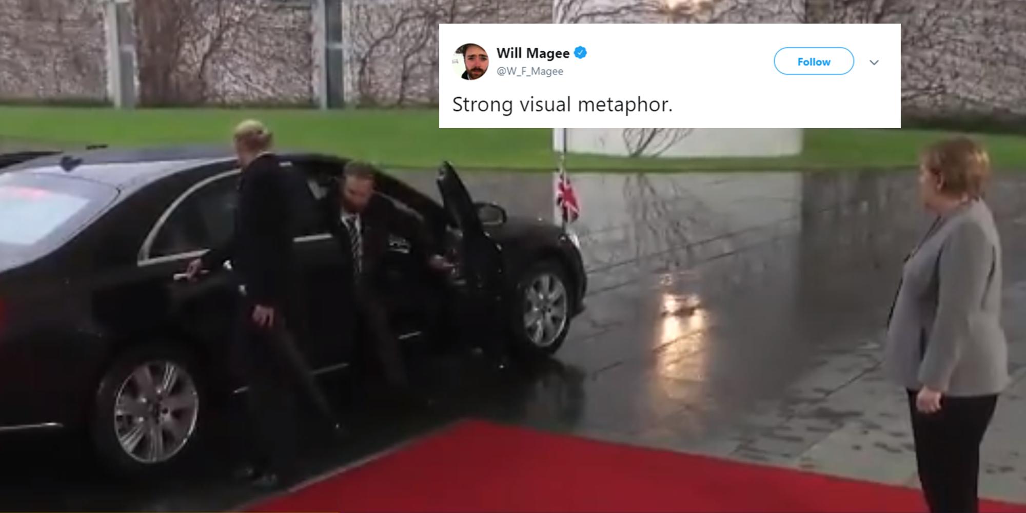 Theresa May got locked in her car before meeting Angela Merkel and the jokes wrote themselves