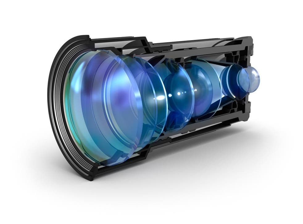 A sectional camera lens view. Some rumours suggest the Samsung Galaxy S10 will feature six different lenses