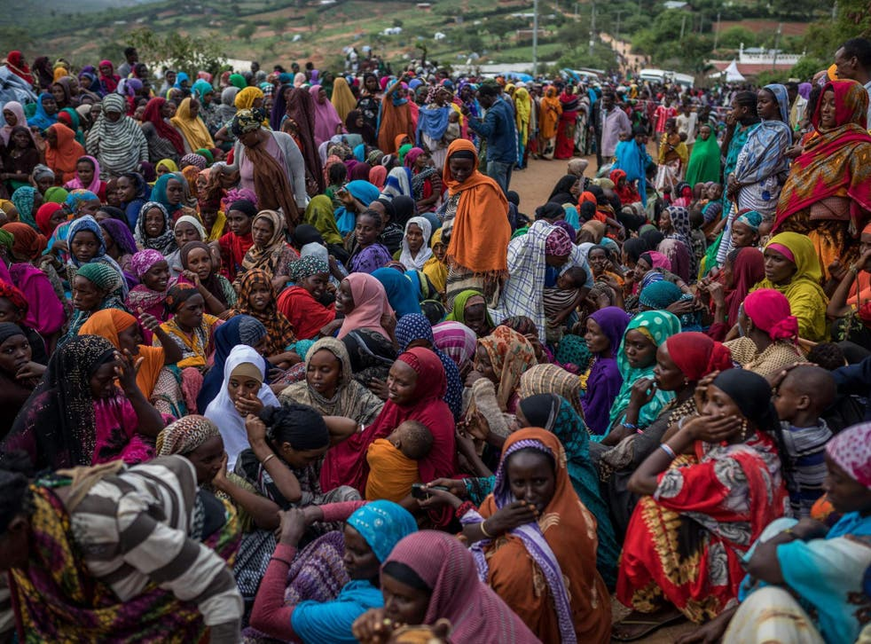 Hundreds of Ethiopians have crossed the border to Kenya. Pictured: women waiting for supplies distributed by Kenyan Red Cross at border town Moyale earlier this year